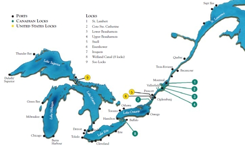 Map Of Canada 5 Great Lakes.St Lawrence Seaway